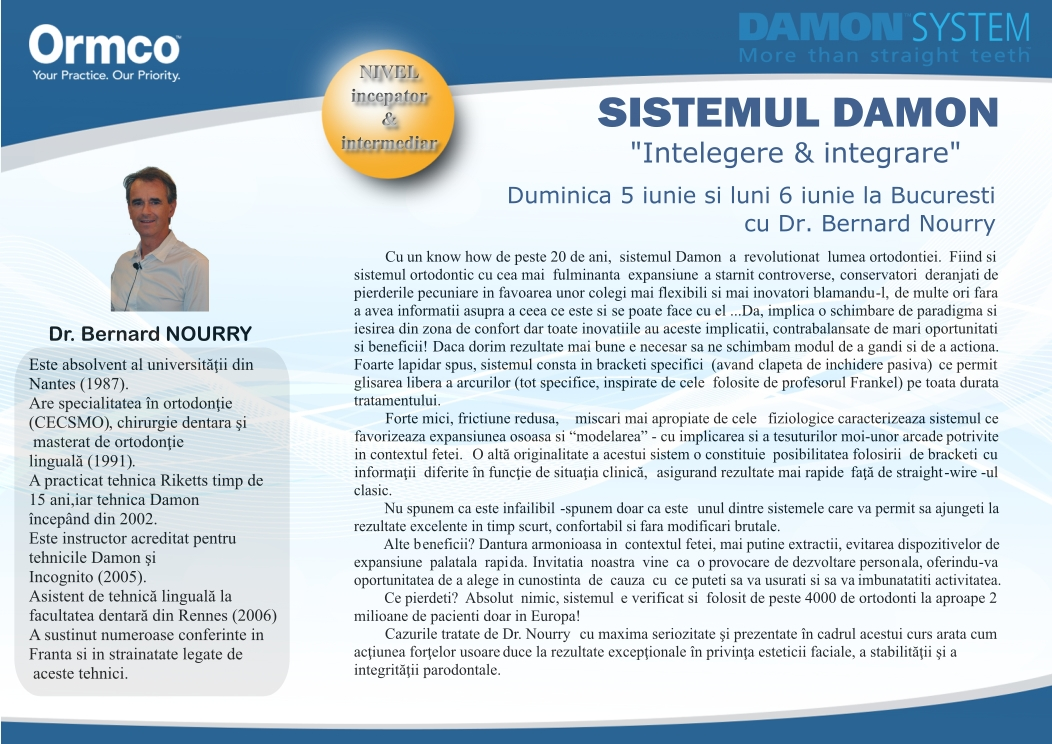 Curs Ormco Damon iunie 2016 Bucuresti